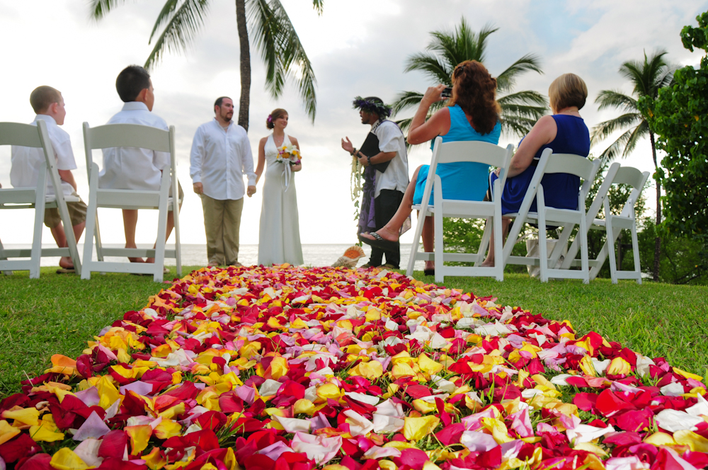Maui wedding with rose flower pathway