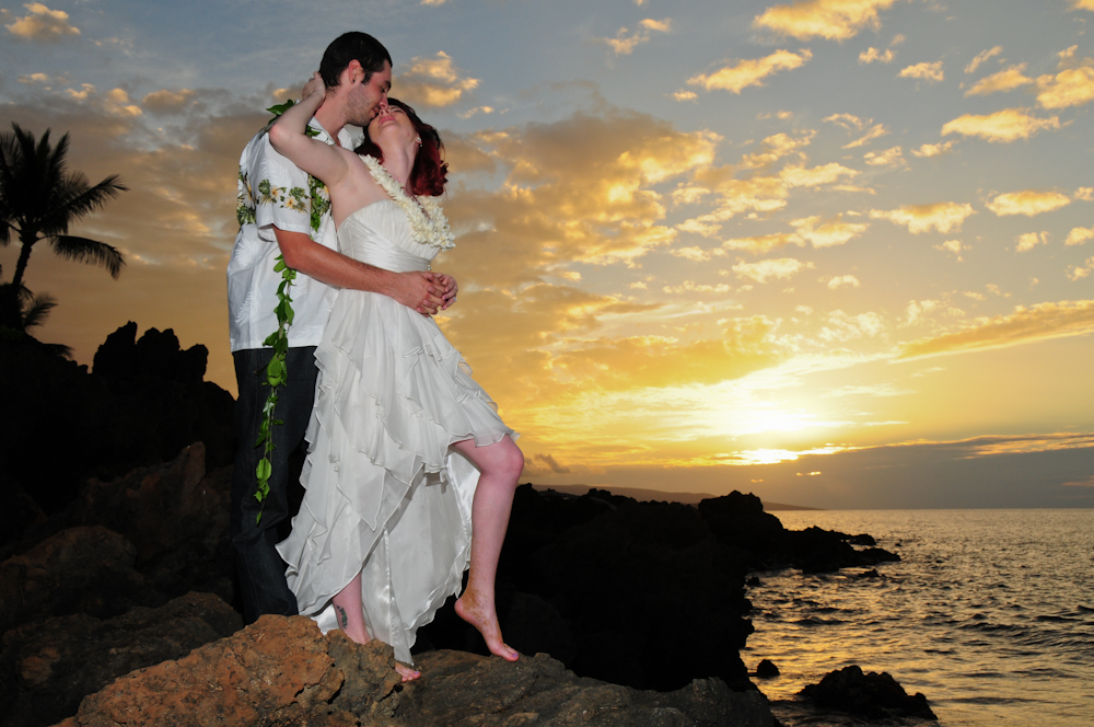 Sunset wedding at Makena Surf Beach, Maui